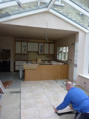 Kitchen-conservatory floor tiling - Kingsholme